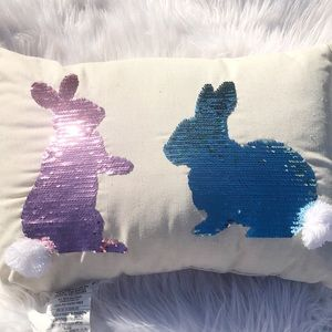 Reverse pink/blue/silver sequin bunny pillow